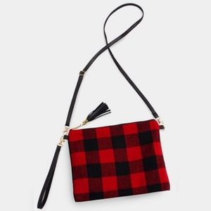 Buffalo Check cross body and hand strap. Too Cute!